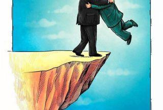 کاریکاتور مذاکره آمریکا و کره شمالی از دیدگاه سایت مقام معظم رهبری