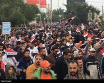 تظاهرات مردم عراق در مخالفت با حضور نیروهای آمریکایی در بغداد