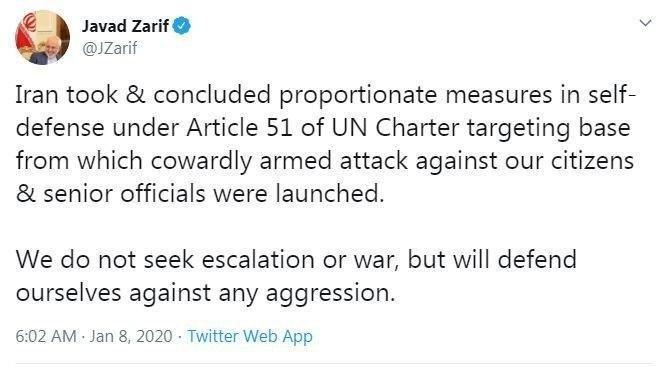 توییت ظریف در مورد حمله موشکی ایران به پایگاه عین الأسد