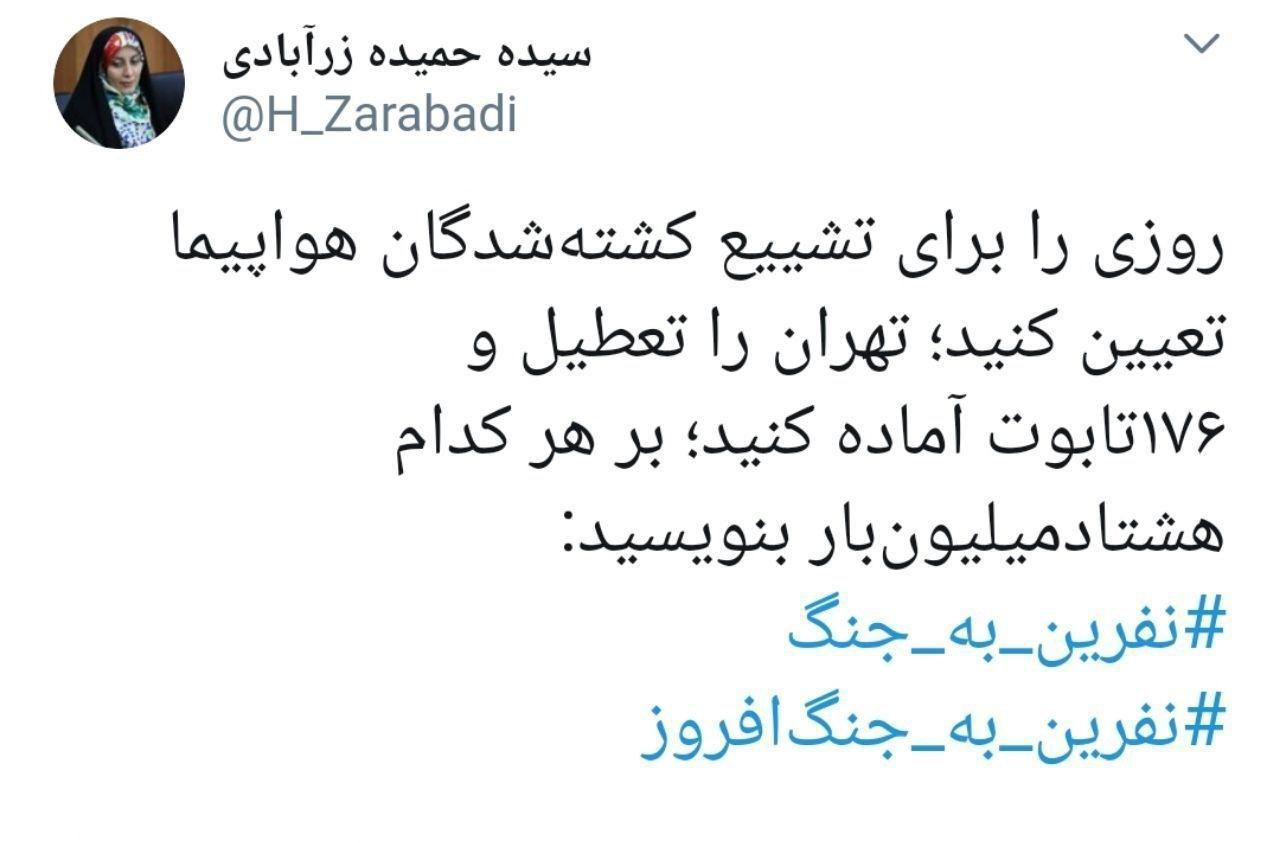 واکنش حمیده زرآبادی نماینده مجلس به اعلام علت سقوط هواپیمای اوکراینی