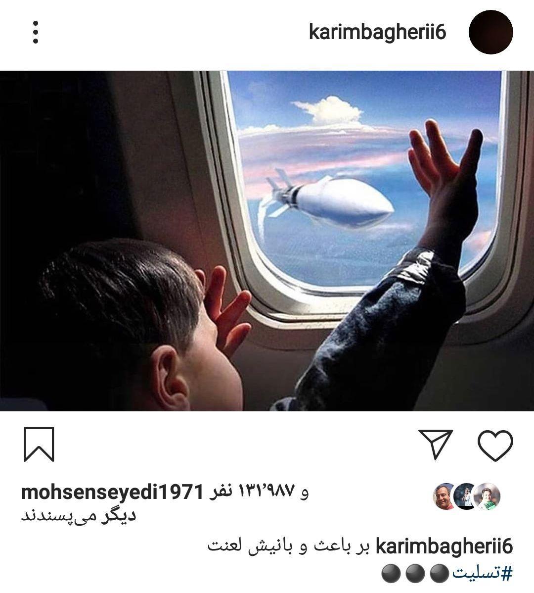 واکنش کریم باقری به حادثه سقوط هواپیمای اوکراینی